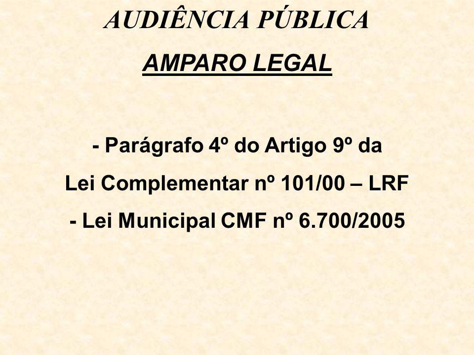 AUDIÊNCIA PÚBLICA AMPARO LEGAL - Parágrafo 4º do Artigo 9º da Lei Complementar nº 101/00 – LRF - Lei Municipal CMF nº 6.700/2005