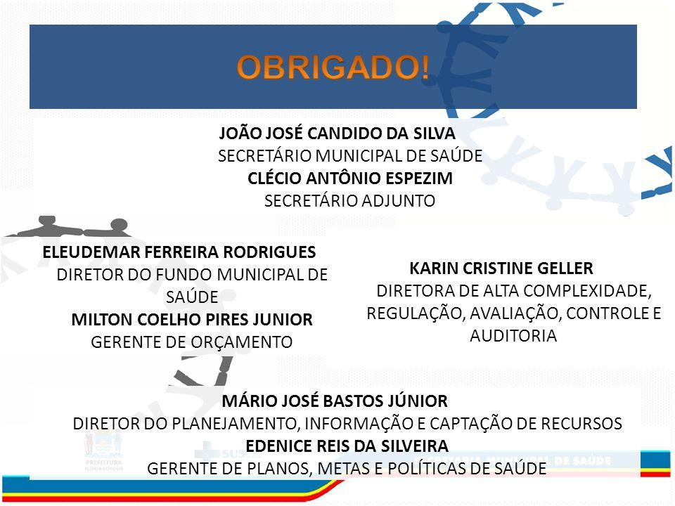 JOÃO JOSÉ CANDIDO DA SILVA SECRETÁRIO MUNICIPAL DE SAÚDE CLÉCIO ANTÔNIO ESPEZIM SECRETÁRIO ADJUNTO ELEUDEMAR FERREIRA RODRIGUES DIRETOR DO FUNDO MUNICIPAL DE SAÚDE MILTON COELHO PIRES JUNIOR GERENTE DE ORÇAMENTO KARIN CRISTINE GELLER DIRETORA DE ALTA COMPLEXIDADE, REGULAÇÃO, AVALIAÇÃO, CONTROLE E AUDITORIA MÁRIO JOSÉ BASTOS JÚNIOR DIRETOR DO PLANEJAMENTO, INFORMAÇÃO E CAPTAÇÃO DE RECURSOS EDENICE REIS DA SILVEIRA GERENTE DE PLANOS, METAS E POLÍTICAS DE SAÚDE