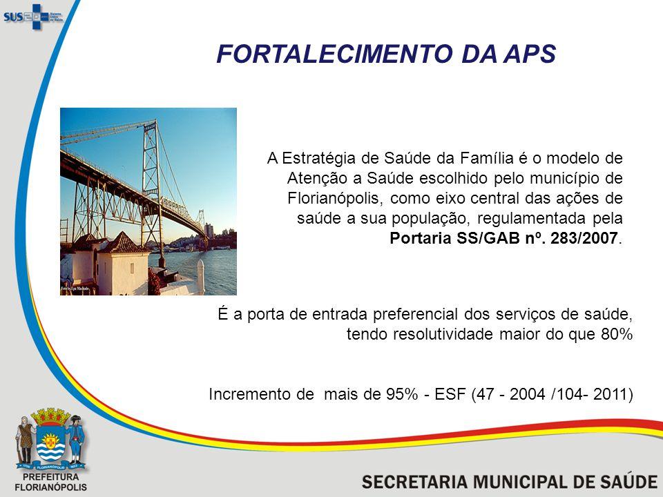 A Estratégia de Saúde da Família é o modelo de Atenção a Saúde escolhido pelo município de Florianópolis, como eixo central das ações de saúde a sua população, regulamentada pela Portaria SS/GAB nº.