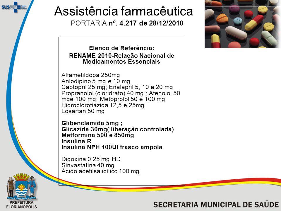 Assistência farmacêutica PORTARIA nº. 4.217 de 28/12/2010 Elenco de Referência: RENAME 2010-Relação Nacional de Medicamentos Essenciais Alfametildopa