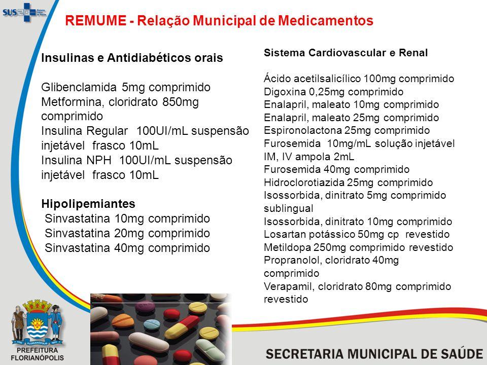 REMUME - Relação Municipal de Medicamentos Insulinas e Antidiabéticos orais Glibenclamida 5mg comprimido Metformina, cloridrato 850mg comprimido Insulina Regular 100UI/mL suspensão injetável frasco 10mL Insulina NPH 100UI/mL suspensão injetável frasco 10mL Hipolipemiantes Sinvastatina 10mg comprimido Sinvastatina 20mg comprimido Sinvastatina 40mg comprimido Sistema Cardiovascular e Renal Ácido acetilsalicílico 100mg comprimido Digoxina 0,25mg comprimido Enalapril, maleato 10mg comprimido Enalapril, maleato 25mg comprimido Espironolactona 25mg comprimido Furosemida 10mg/mL solução injetável IM, IV ampola 2mL Furosemida 40mg comprimido Hidroclorotiazida 25mg comprimido Isossorbida, dinitrato 5mg comprimido sublingual Isossorbida, dinitrato 10mg comprimido Losartan potássico 50mg cp revestido Metildopa 250mg comprimido revestido Propranolol, cloridrato 40mg comprimido Verapamil, cloridrato 80mg comprimido revestido