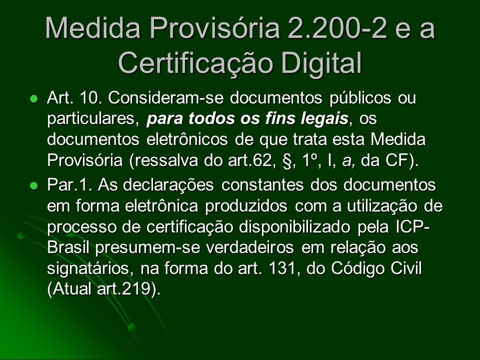 Medida Provisória 2.200-2 e a Certificação Digital Art. 1o Fica instituída a Infra-Estrutura de Chaves Públicas Brasileira - ICP-Brasil, para garantir
