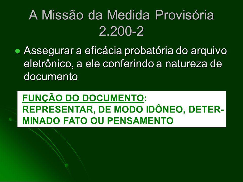 Medida Provisória 2.200-2 e a Certificação Digital Art. 10. Consideram-se documentos públicos ou particulares, para todos os fins legais, os documento
