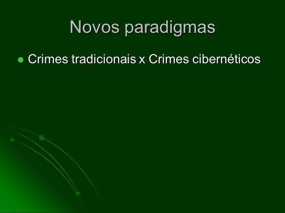 Novos paradigmas Crimes tradicionais x Crimes cibernéticos Crimes tradicionais x Crimes cibernéticos