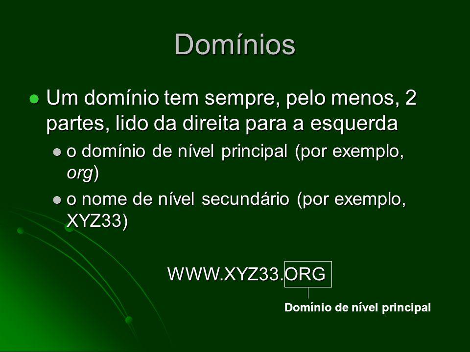 Domínios Um domínio tem sempre, pelo menos, 2 partes, lido da direita para a esquerda Um domínio tem sempre, pelo menos, 2 partes, lido da direita para a esquerda o domínio de nível principal (por exemplo, org) o domínio de nível principal (por exemplo, org) o nome de nível secundário (por exemplo, XYZ33) o nome de nível secundário (por exemplo, XYZ33) Nomes adicionais podem se referir a computadores específicos dentro de uma rede Nomes adicionais podem se referir a computadores específicos dentro de uma rede