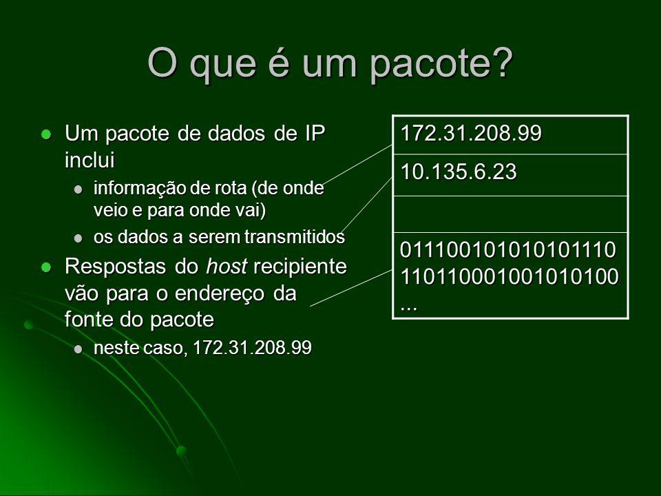 Como os hosts de Internet trocam dados Informações a serem enviadas para outro host de Internet são divididos em pequenos pacotes de dados Informações