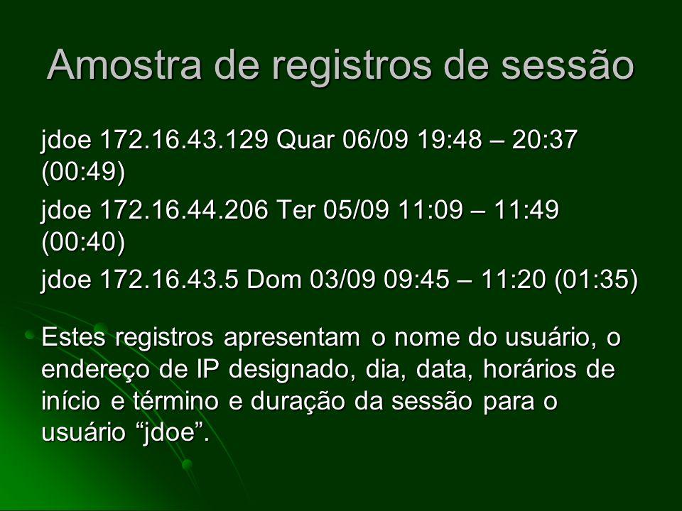 Exemplo de um sistema de registros Registros de login Registros de login o equivalente cibernético dos registros mantidos pela companhia telefônica o