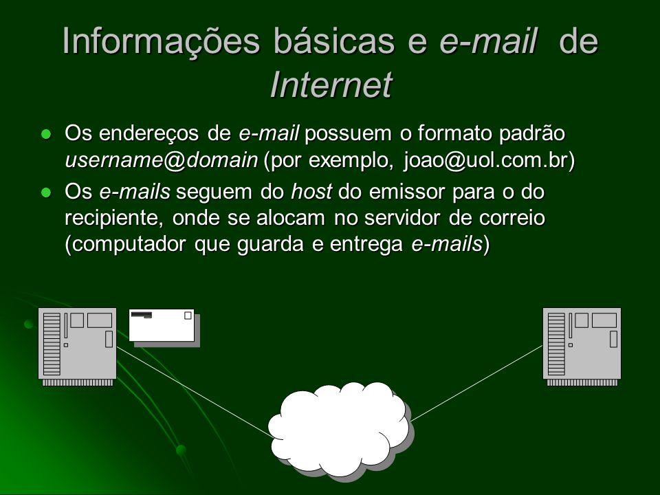 Comunicação com outros usuários on-line Correio eletrônico (e-mail) Correio eletrônico (e-mail) privado (um a um) ou público (um para muitos) privado