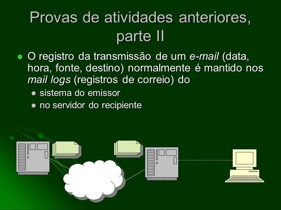 Provas de atividades anteriores Cópias de mensagens de e-mail enviadas anteriormente podem ser guardadas Cópias de mensagens de e-mail enviadas anteri