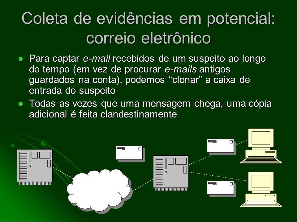 Provas de atividades anteriores, parte II O registro da transmissão de um e-mail (data, hora, fonte, destino) normalmente é mantido nos mail logs (reg