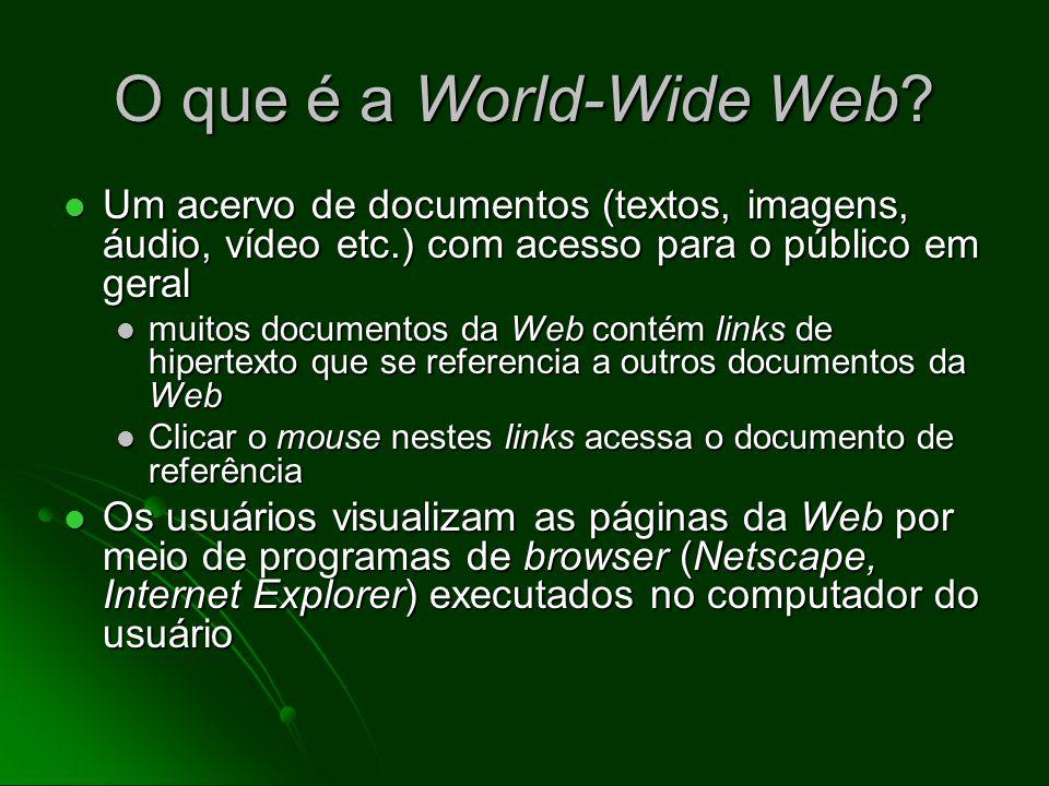 Guardar e armazenar informações A World-Wide Web (WWW) A World-Wide Web (WWW) Protocolo de transferência de arquivo (FTP) Protocolo de transferência d