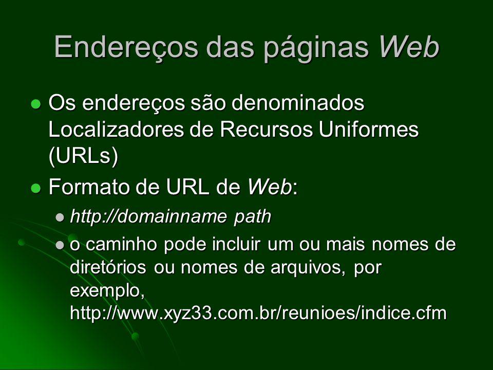 O que é a World-Wide Web? Um acervo de documentos (textos, imagens, áudio, vídeo etc.) com acesso para o público em geral Um acervo de documentos (tex
