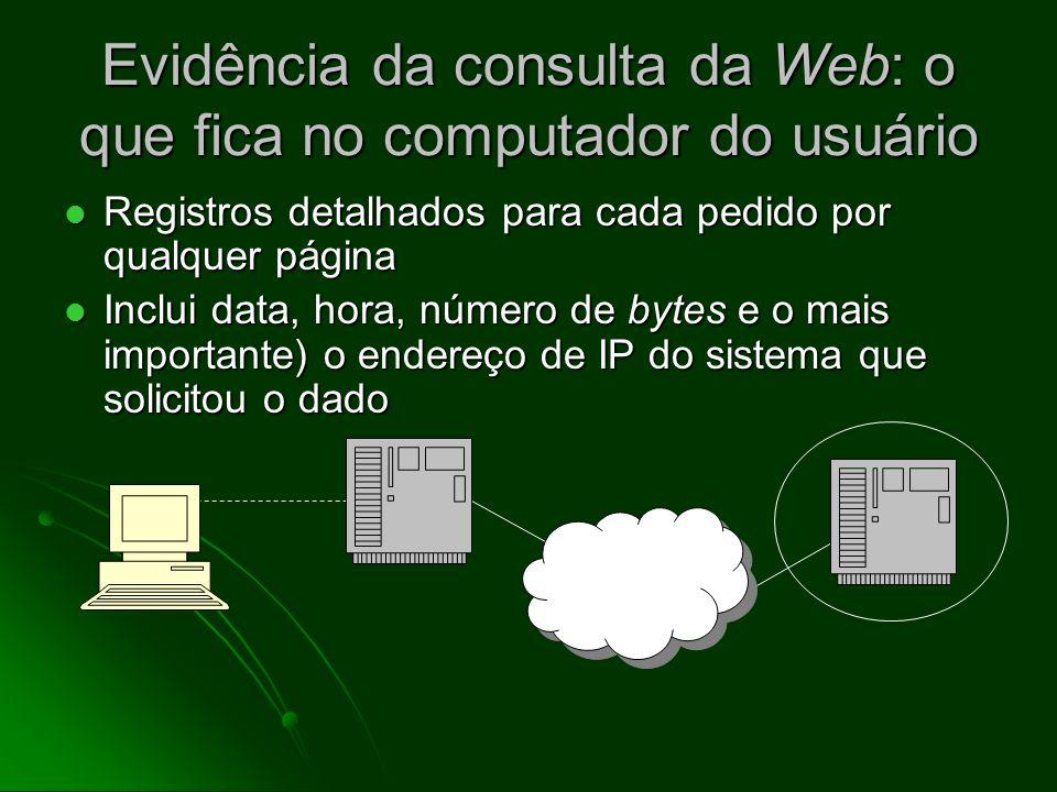 Evidência da consulta da Web: o que fica no computador do usuário Diretório de cache: cópias das páginas da Web visitadas recentemente Diretório de ca