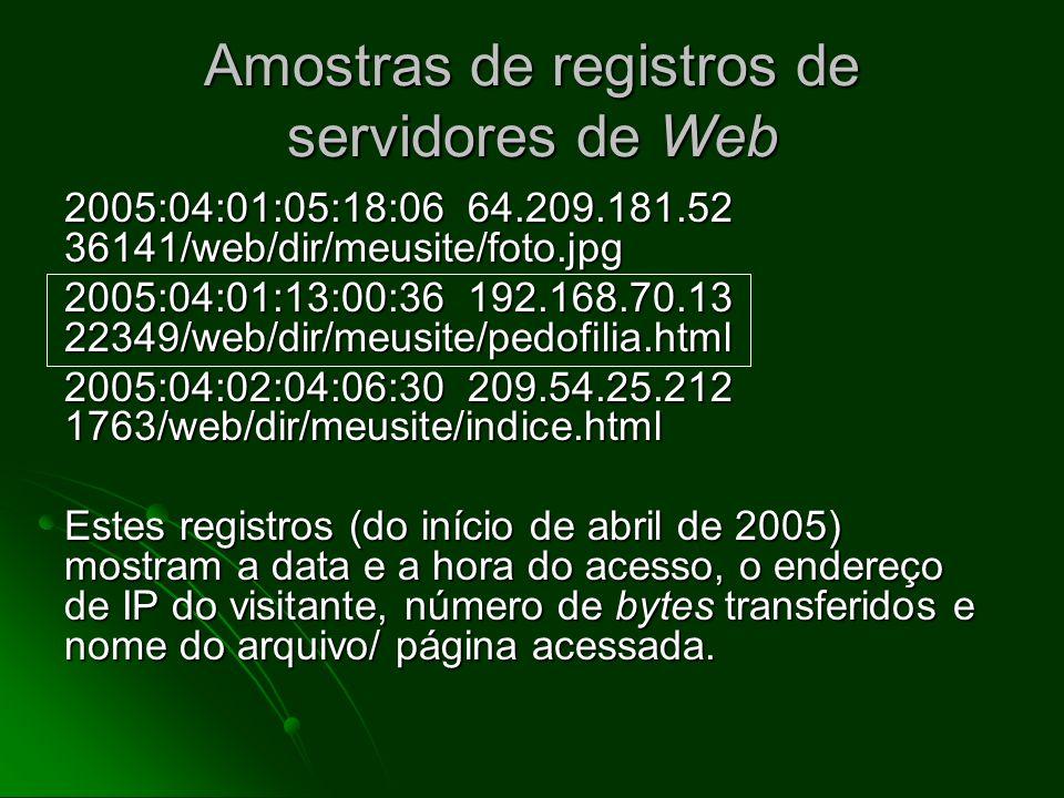 Evidência da consulta da Web: o que fica no computador do usuário Registros detalhados para cada pedido por qualquer página Registros detalhados para cada pedido por qualquer página Inclui data, hora, número de bytes e o mais importante) o endereço de IP do sistema que solicitou o dado Inclui data, hora, número de bytes e o mais importante) o endereço de IP do sistema que solicitou o dado