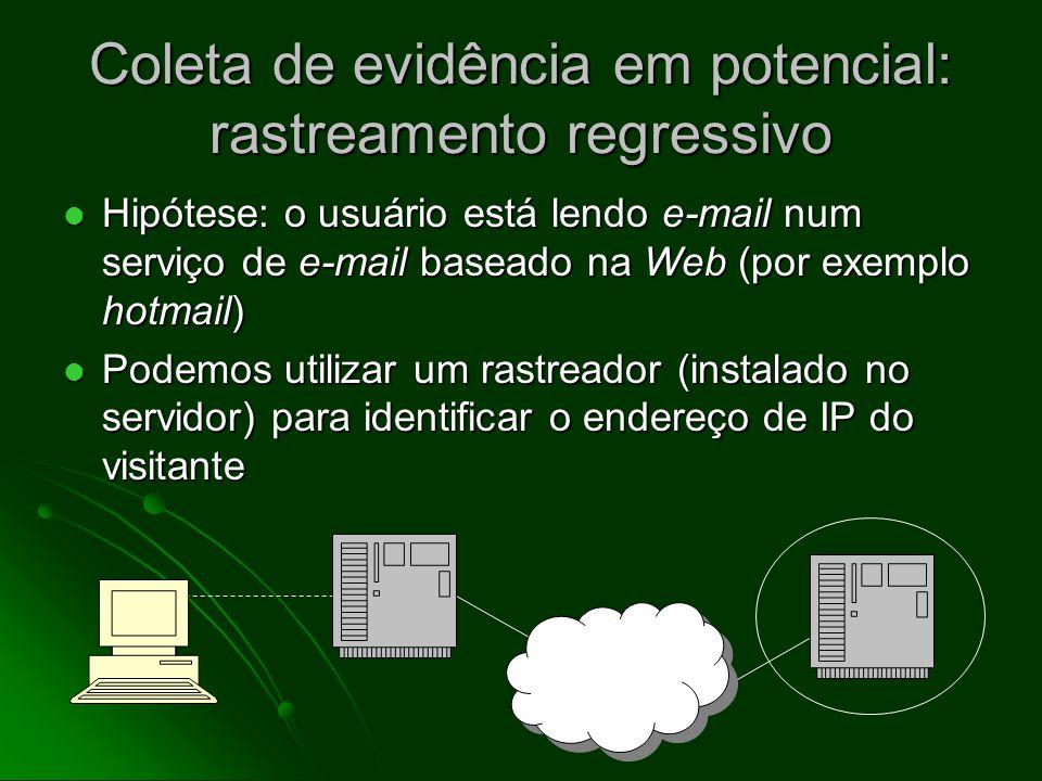 Amostras de registros de servidores de Web 2005:04:01:05:18:06 64.209.181.52 36141/web/dir/meusite/foto.jpg 2005:04:01:13:00:36 192.168.70.13 22349/web/dir/meusite/pedofilia.html 2005:04:02:04:06:30 209.54.25.212 1763/web/dir/meusite/indice.html Estes registros (do início de abril de 2005) mostram a data e a hora do acesso, o endereço de IP do visitante, número de bytes transferidos e nome do arquivo/ página acessada.