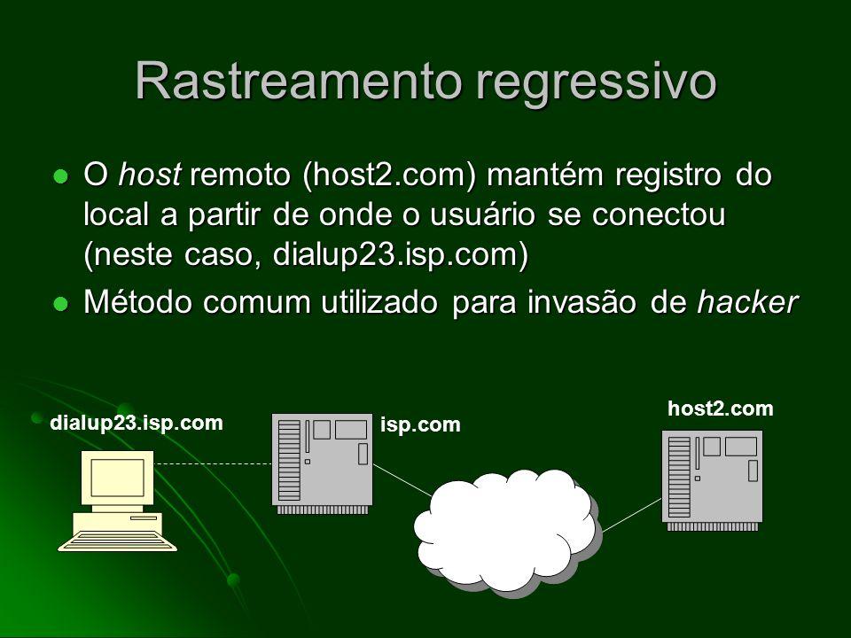 Login remoto Realizado mediante o uso do programa telnet Realizado mediante o uso do programa telnet Enquanto conectado a um host de Internet, o usuário conecta-se a um host diferente e entra no sistema Enquanto conectado a um host de Internet, o usuário conecta-se a um host diferente e entra no sistema Método comum utilizado para invasão de hacker Método comum utilizado para invasão de hacker telnet host2.com dialup23.isp.com isp.com host2.com login: silvajoao senha: