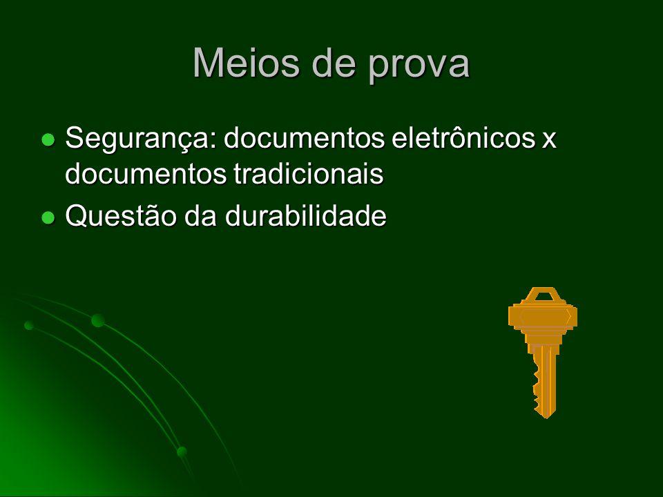 Meios de prova Segurança: documentos eletrônicos x documentos tradicionais Segurança: documentos eletrônicos x documentos tradicionais Questão da durabilidade Questão da durabilidade