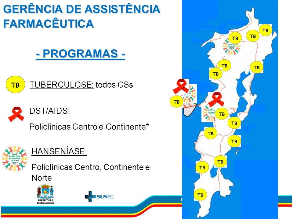 - PROGRAMAS - TUBERCULOSE: todos CSs DST/AIDS: Policlínicas Centro e Continente* HANSENÍASE: Policlínicas Centro, Continente e Norte GERÊNCIA DE ASSISTÊNCIA FARMACÊUTICA