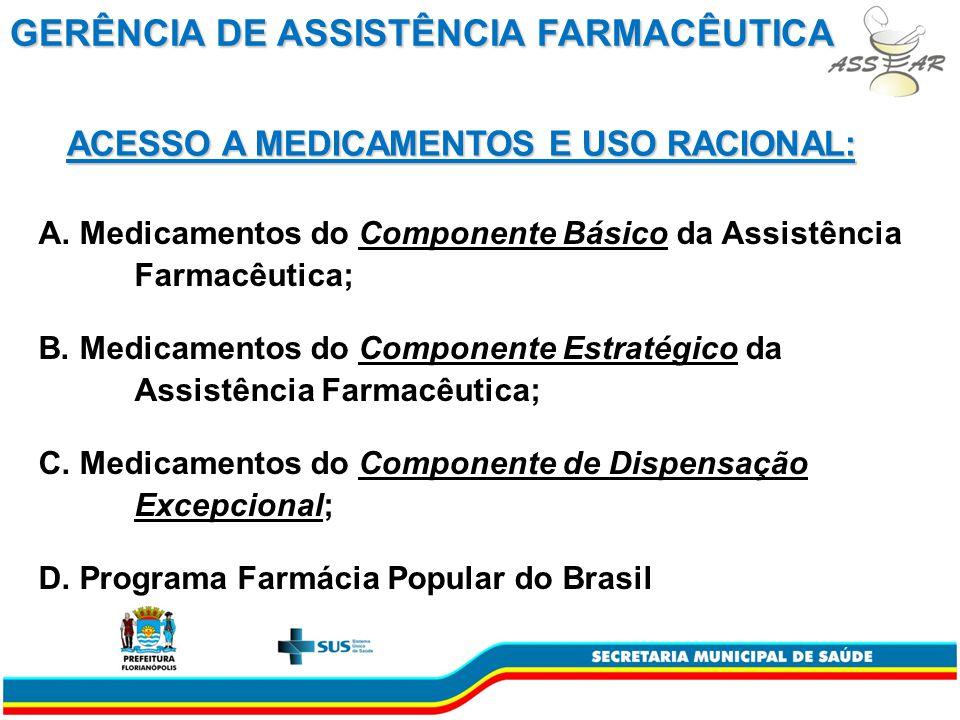 A.Medicamentos do Componente Básico da Assistência Farmacêutica; B.