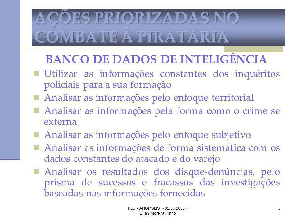 FLORIANÓPOLIS - 02.06.2005 - Lilian Moreira Pinho 3 BANCO DE DADOS DE INTELIGÊNCIA Utilizar as informações constantes dos inquéritos policiais para a