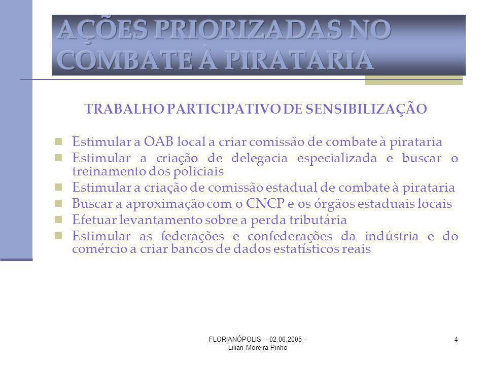 FLORIANÓPOLIS - 02.06.2005 - Lilian Moreira Pinho 4 TRABALHO PARTICIPATIVO DE SENSIBILIZAÇÃO Estimular a OAB local a criar comissão de combate à pirat