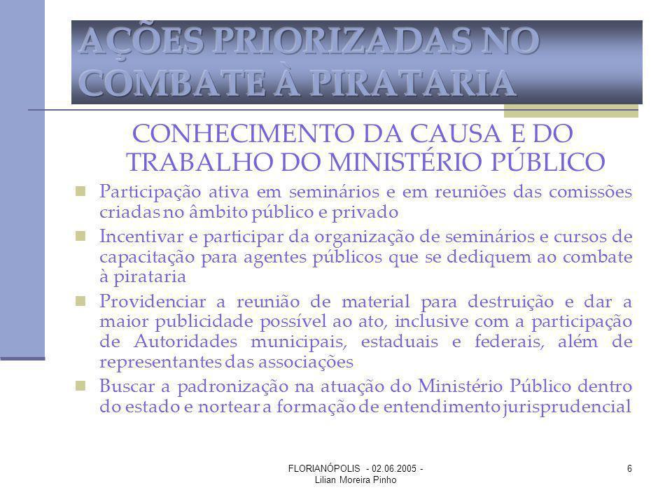 FLORIANÓPOLIS - 02.06.2005 - Lilian Moreira Pinho 6 CONHECIMENTO DA CAUSA E DO TRABALHO DO MINISTÉRIO PÚBLICO Participação ativa em seminários e em re