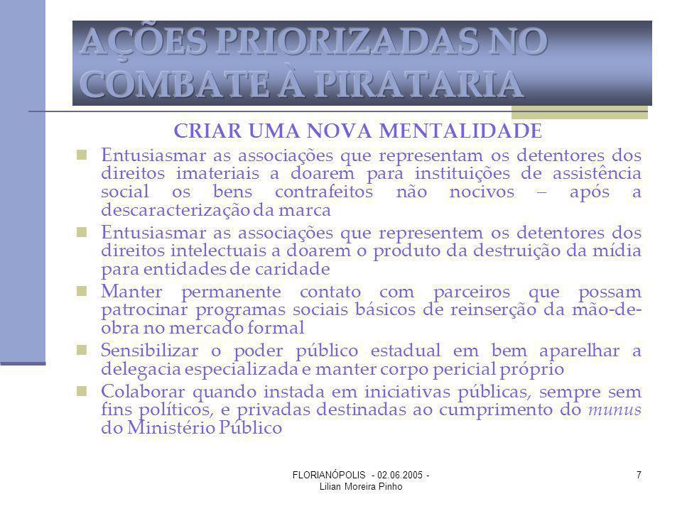FLORIANÓPOLIS - 02.06.2005 - Lilian Moreira Pinho 7 CRIAR UMA NOVA MENTALIDADE Entusiasmar as associações que representam os detentores dos direitos i