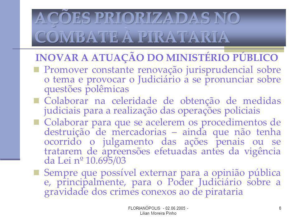 FLORIANÓPOLIS - 02.06.2005 - Lilian Moreira Pinho 8 INOVAR A ATUAÇÃO DO MINISTÉRIO PÚBLICO Promover constante renovação jurisprudencial sobre o tema e