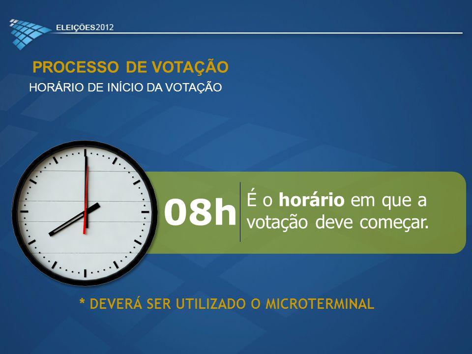 PROCESSO DE VOTAÇÃO HORÁRIO DE INÍCIO DA VOTAÇÃO É o horário em que a votação deve começar. 08h * DEVERÁ SER UTILIZADO O MICROTERMINAL