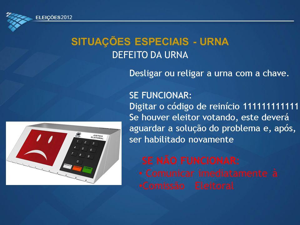 Desligar ou religar a urna com a chave. SE FUNCIONAR: Digitar o código de reinício 111111111111 Se houver eleitor votando, este deverá aguardar a solu