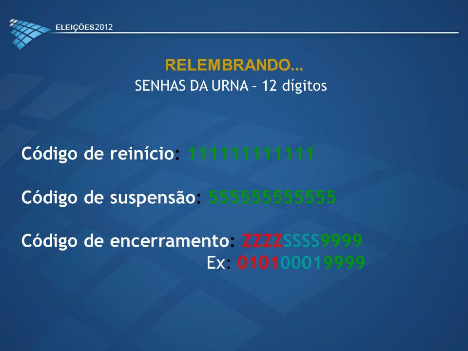 SENHAS DA URNA – 12 dígitos Código de reinício: 111111111111 Código de suspensão: 555555555555 Código de encerramento: ZZZZSSSS9999 Ex: 010100019999 R
