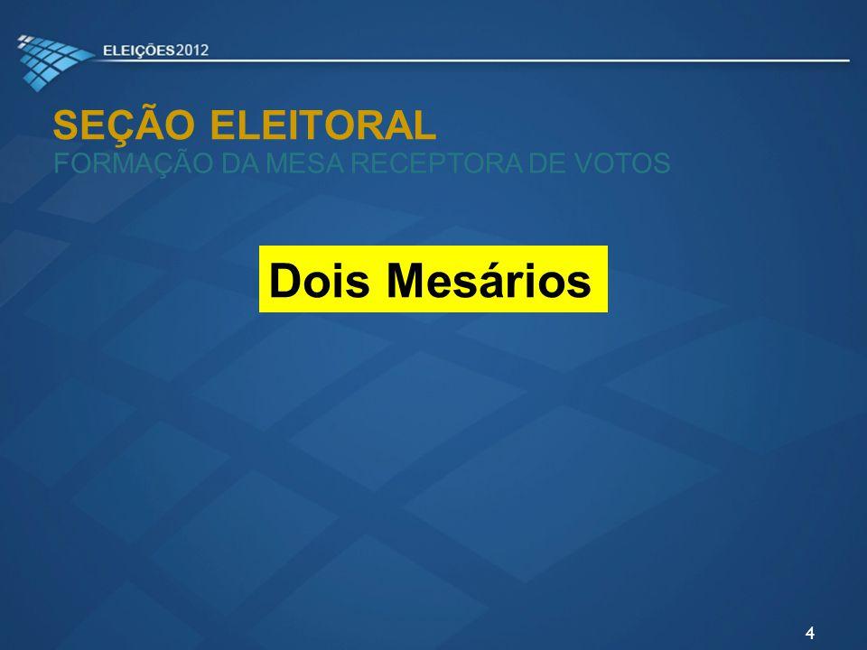 SEÇÃO ELEITORAL FORMAÇÃO DA MESA RECEPTORA DE VOTOS Dois Mesários 4