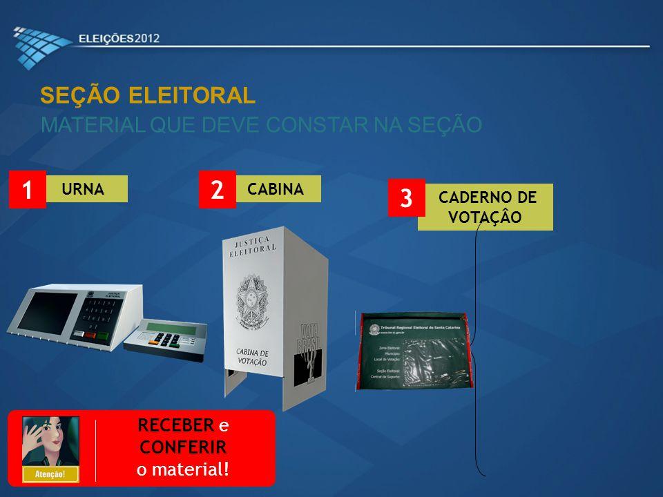 SEÇÃO ELEITORAL INSTALAÇÃO DA URNA ELETRÔNICA TERMINAL DO MESÁRIO TERMINAL DO ELEITOR CABINA 6