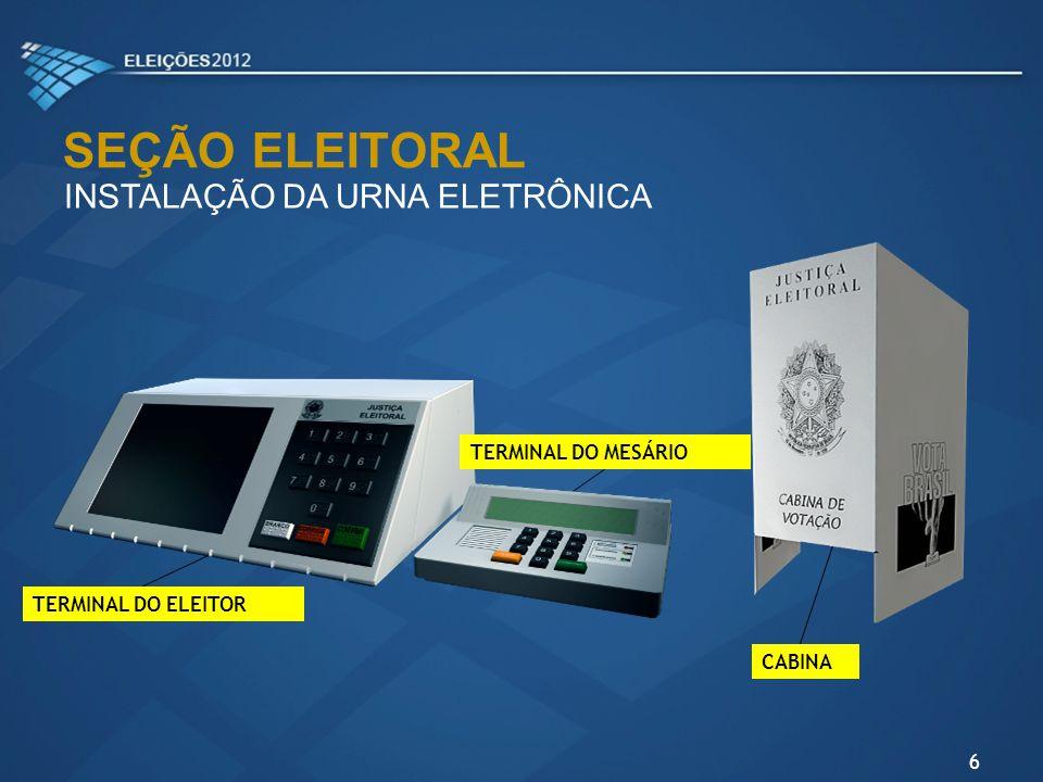 Mesários deverão conferir na etiqueta da caixa da urna: NOME DO COLÉGIO E SEÇÃO SEÇÃO ELEITORAL CONFERÊNCIA DA CAIXA DA URNA ELETRÔNICA