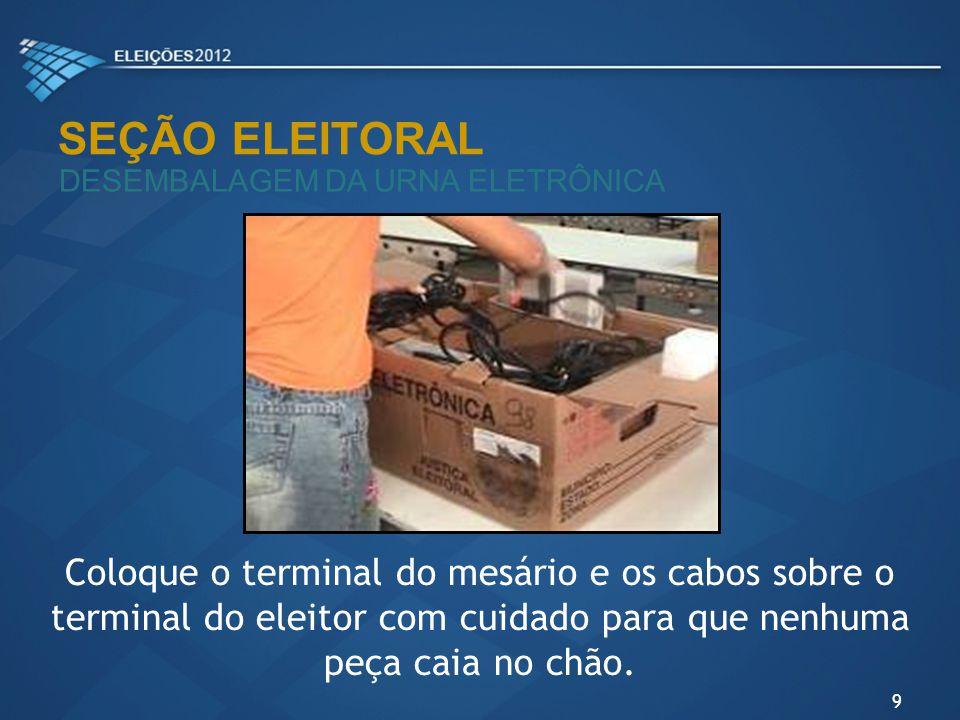 SEÇÃO ELEITORAL DESEMBALAGEM DA URNA ELETRÔNICA Coloque o terminal do mesário e os cabos sobre o terminal do eleitor com cuidado para que nenhuma peça