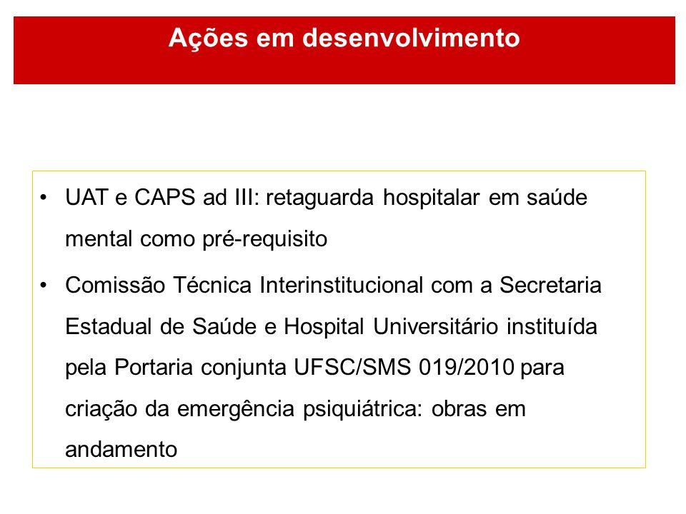 Ações em desenvolvimento UAT e CAPS ad III: retaguarda hospitalar em saúde mental como pré-requisito Comissão Técnica Interinstitucional com a Secreta