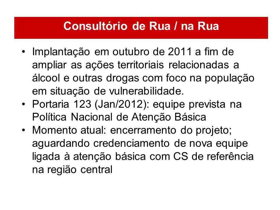 Implantação em outubro de 2011 a fim de ampliar as ações territoriais relacionadas a álcool e outras drogas com foco na população em situação de vulne