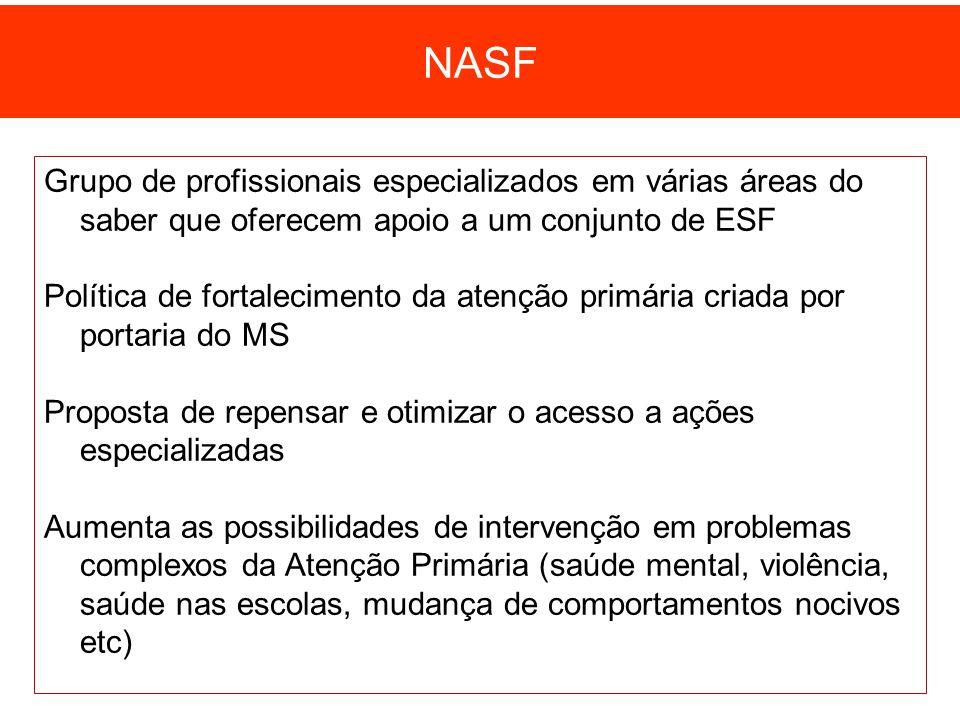Grupo de profissionais especializados em várias áreas do saber que oferecem apoio a um conjunto de ESF Política de fortalecimento da atenção primária