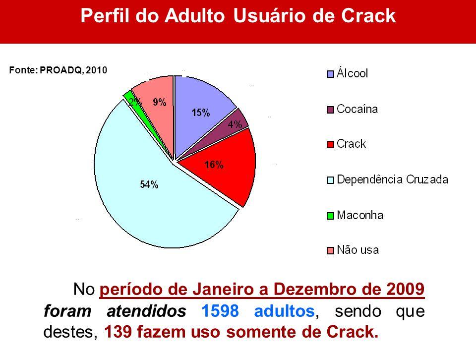 Perfil do Adulto Usuário de Crack No período de Janeiro a Dezembro de 2009 foram atendidos 1598 adultos, sendo que destes, 139 fazem uso somente de Cr