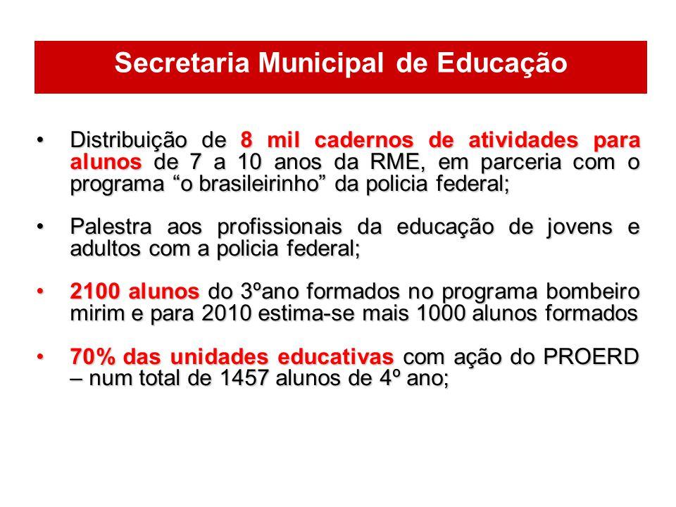 Distribuição de 8 mil cadernos de atividades para alunos de 7 a 10 anos da RME, em parceria com o programa o brasileirinho da policia federal;Distribu
