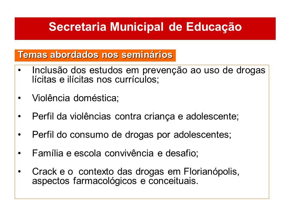 Inclusão dos estudos em prevenção ao uso de drogas lícitas e ilícitas nos currículos; Violência doméstica; Perfil da violências contra criança e adole