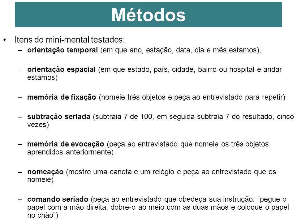 13 Itens do mini-mental testados: –orientação temporal (em que ano, estação, data, dia e mês estamos), –orientação espacial (em que estado, país, cida