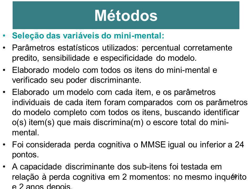 15 Seleção das variáveis do mini-mental: Parâmetros estatísticos utilizados: percentual corretamente predito, sensibilidade e especificidade do modelo