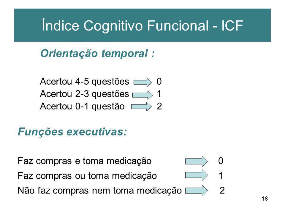 18 Índice Cognitivo Funcional - ICF Orientação temporal : Acertou 4-5 questões 0 Acertou 2-3 questões 1 Acertou 0-1 questão 2 Funções executivas: Faz
