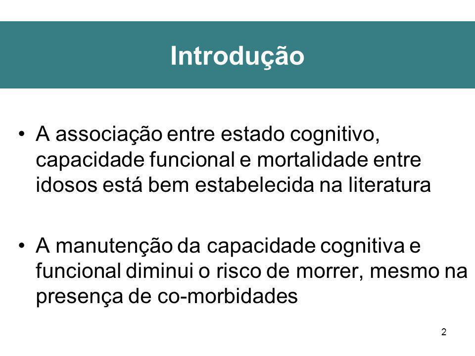 2 Introdução A associação entre estado cognitivo, capacidade funcional e mortalidade entre idosos está bem estabelecida na literatura A manutenção da