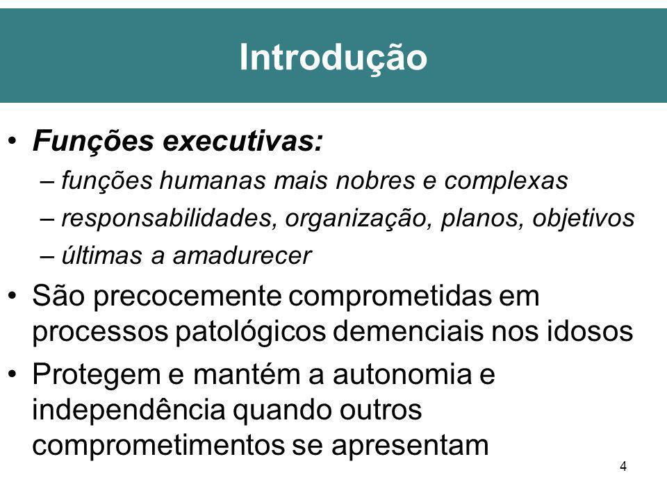 4 Introdução Funções executivas: –funções humanas mais nobres e complexas –responsabilidades, organização, planos, objetivos –últimas a amadurecer São