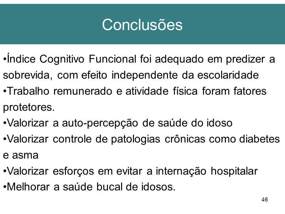 46 Conclusões Índice Cognitivo Funcional foi adequado em predizer a sobrevida, com efeito independente da escolaridade Trabalho remunerado e atividade