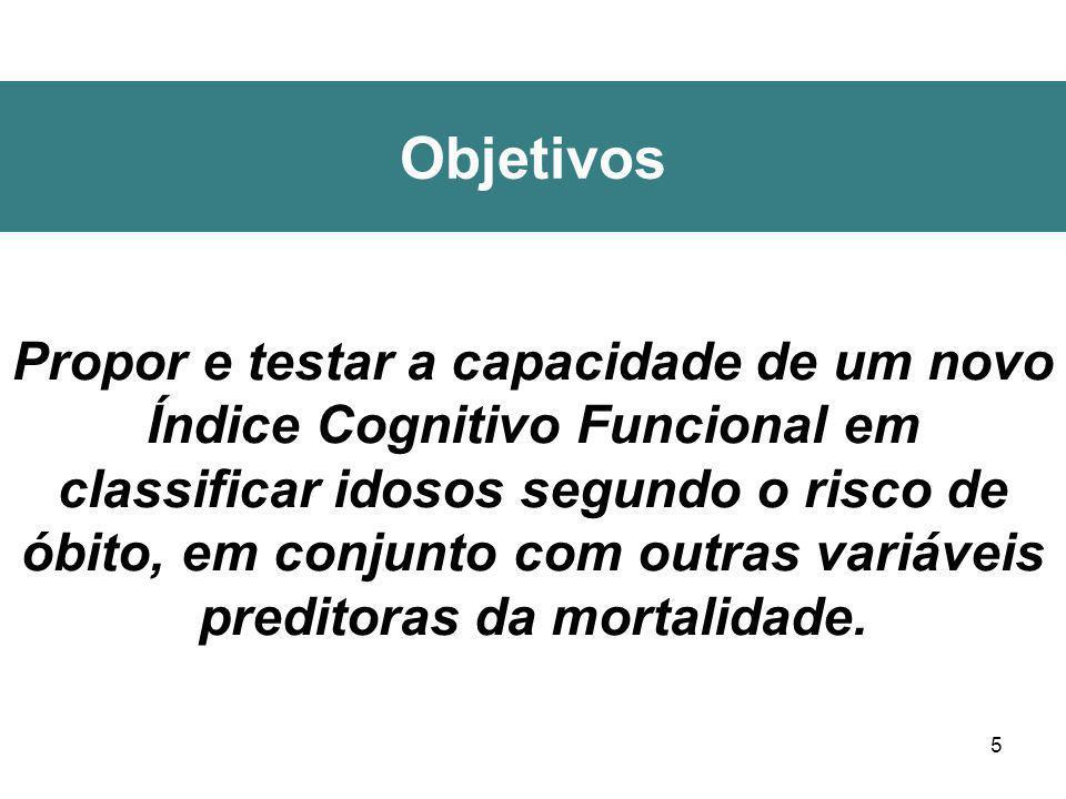 5 Objetivos Propor e testar a capacidade de um novo Índice Cognitivo Funcional em classificar idosos segundo o risco de óbito, em conjunto com outras