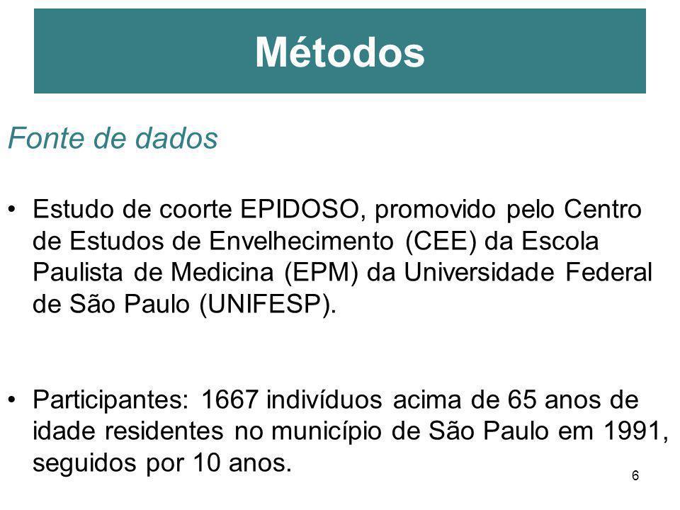6 Fonte de dados Estudo de coorte EPIDOSO, promovido pelo Centro de Estudos de Envelhecimento (CEE) da Escola Paulista de Medicina (EPM) da Universida