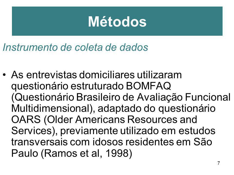 7 Instrumento de coleta de dados As entrevistas domiciliares utilizaram questionário estruturado BOMFAQ (Questionário Brasileiro de Avaliação Funciona